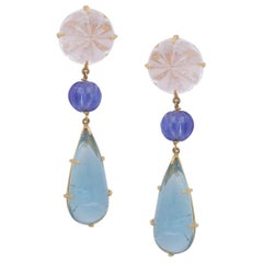 Dangling Earring with Hand Carved Tanzanite Kunzite and Aquamarine in 22k Gold
