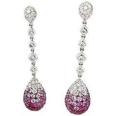 Dangling Earrings, 18 Karat golden, 2.5 Carat Diamonds, 3.57 Ruby, 5.20 Sapphire