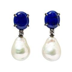 Lapis Lazuli ,Dangling Earrings,  Baroque Pearls, Diamonds in Black Gold