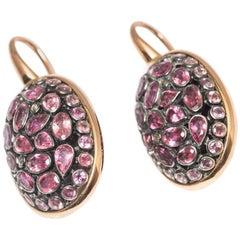 Dangling Earrings Turtule Junagarh Pink Tourmaline in Gold and Silver