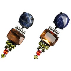Dangling Earrings with Sodalite and colorful flur zircons from IOSSELLIANI
