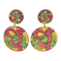Dangling Multicolor Lucite Disk Clip Earrings