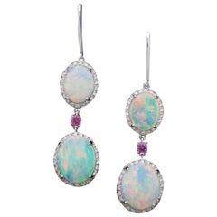 Dangling Opal, Diamond and Pink Sapphire Earrings in White Gold