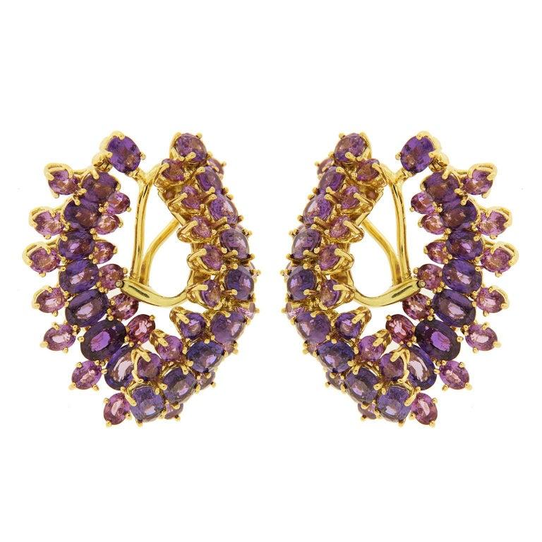 Dangling Oval Purple Sapphire Gold Earrings