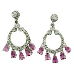 Dangling Pink Sapphire and Diamond Earrings in White Gold