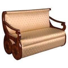 Danhauser Sofa in Viennese Biedermeier Style, Mahogany Veneer on Beechwood