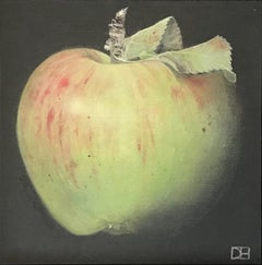 Dani Humberstone, Large Green Apple, Original Realistic Painting, Fruit Art