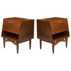 Dania Nightstands in Walnut by Merton Gershun for American of Martinsville, Pair
