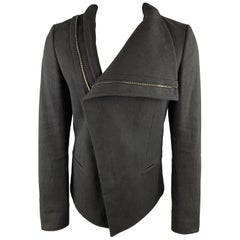 DANIEL ANDRESEN Size XS Black Cotton Canvas Asymmetrical Collar Jacket