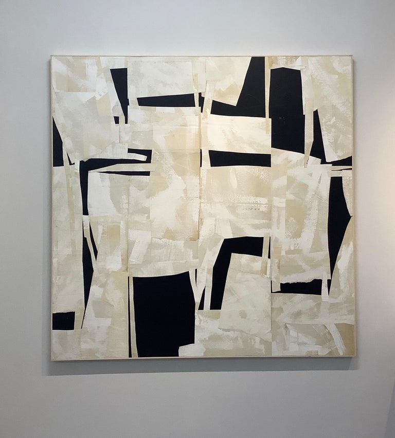 Armature IV, Large Square Abstract Painted Paper Collage on Panel, Black, Ivory - Contemporary Mixed Media Art by Daniel Anselmi