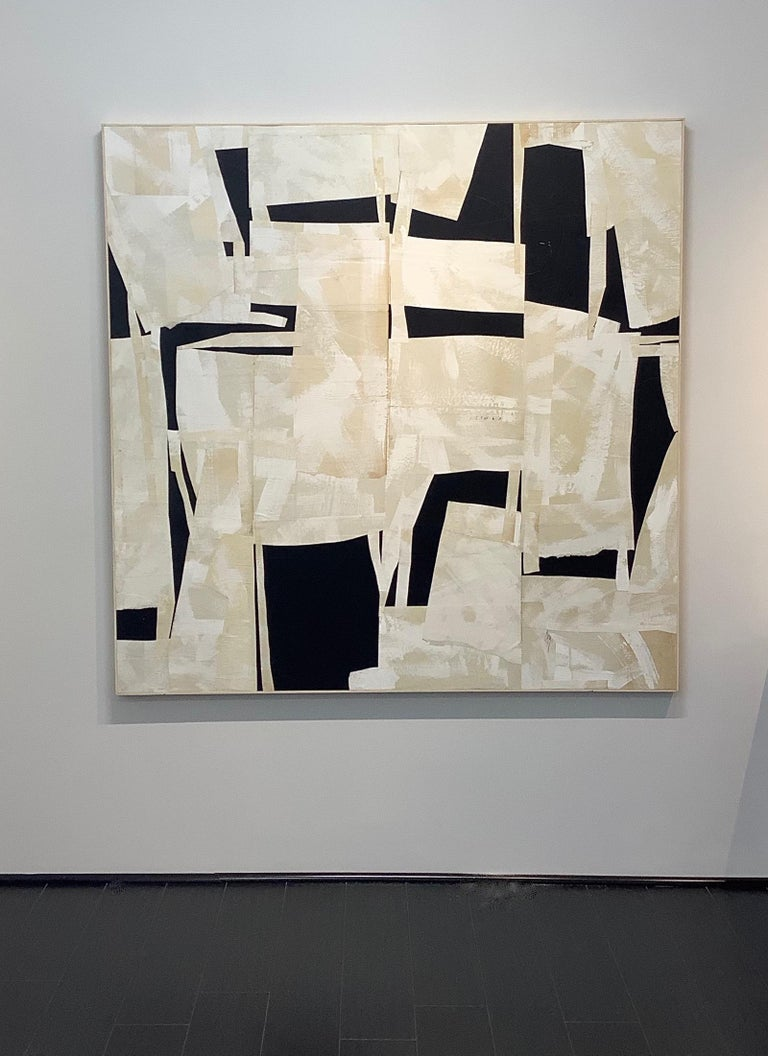 Daniel Anselmi uses painting and collage to explore the various ways in which color, line, and form can be expressed abstractly.   In this large square painted paper collage on panel, smooth curvilinear and sharp angular forms intersect and overlap