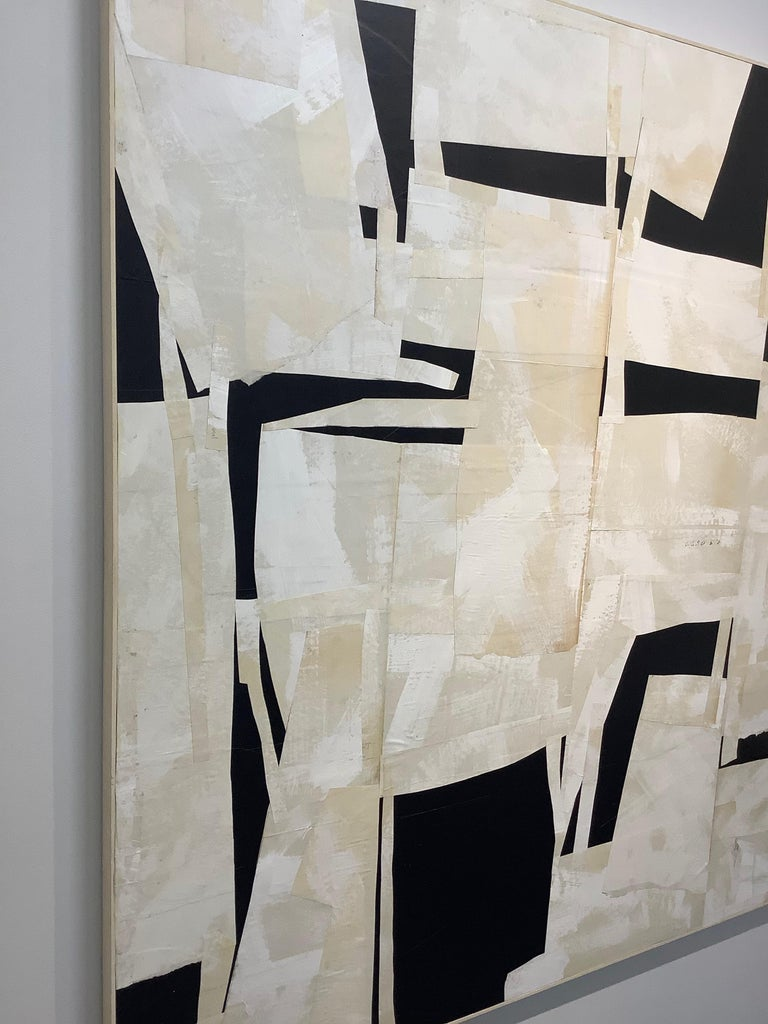 Armature IV, Large Square Abstract Painted Paper Collage on Panel, Black, Ivory For Sale 1