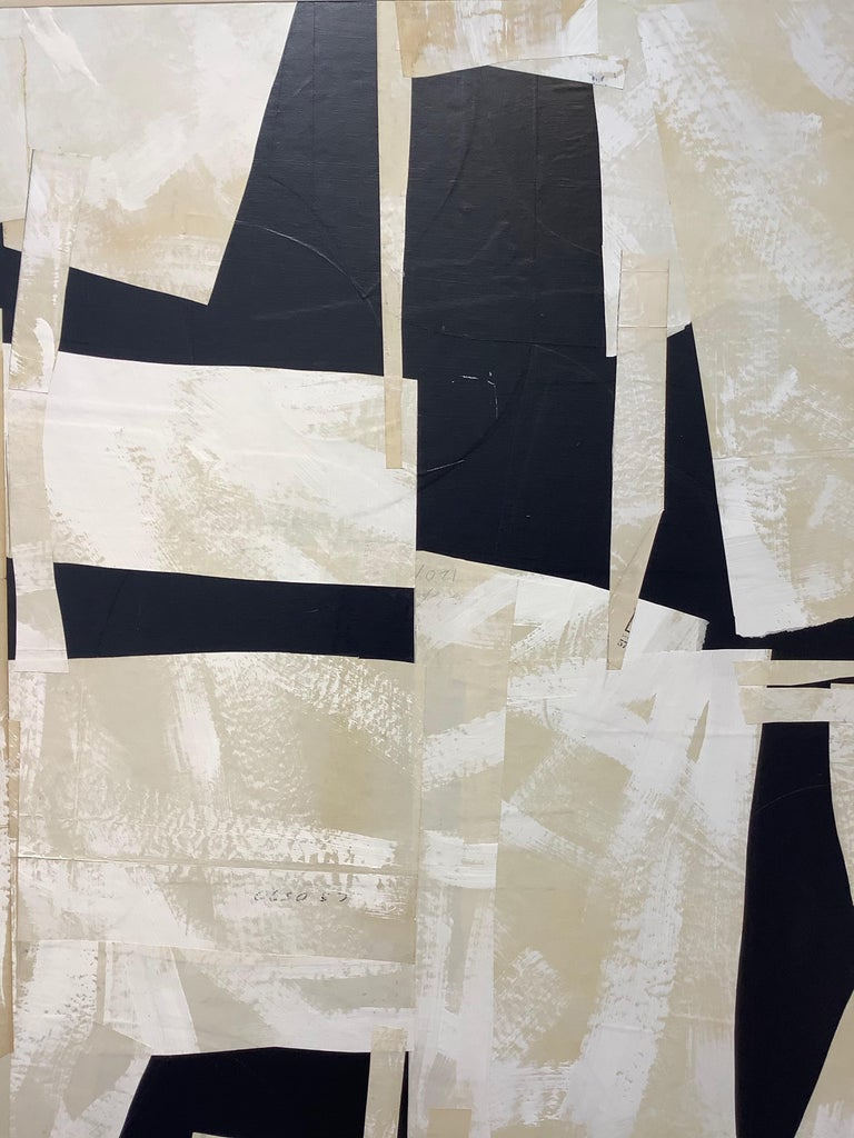 Armature IV, Large Square Abstract Painted Paper Collage on Panel, Black, Ivory For Sale 2