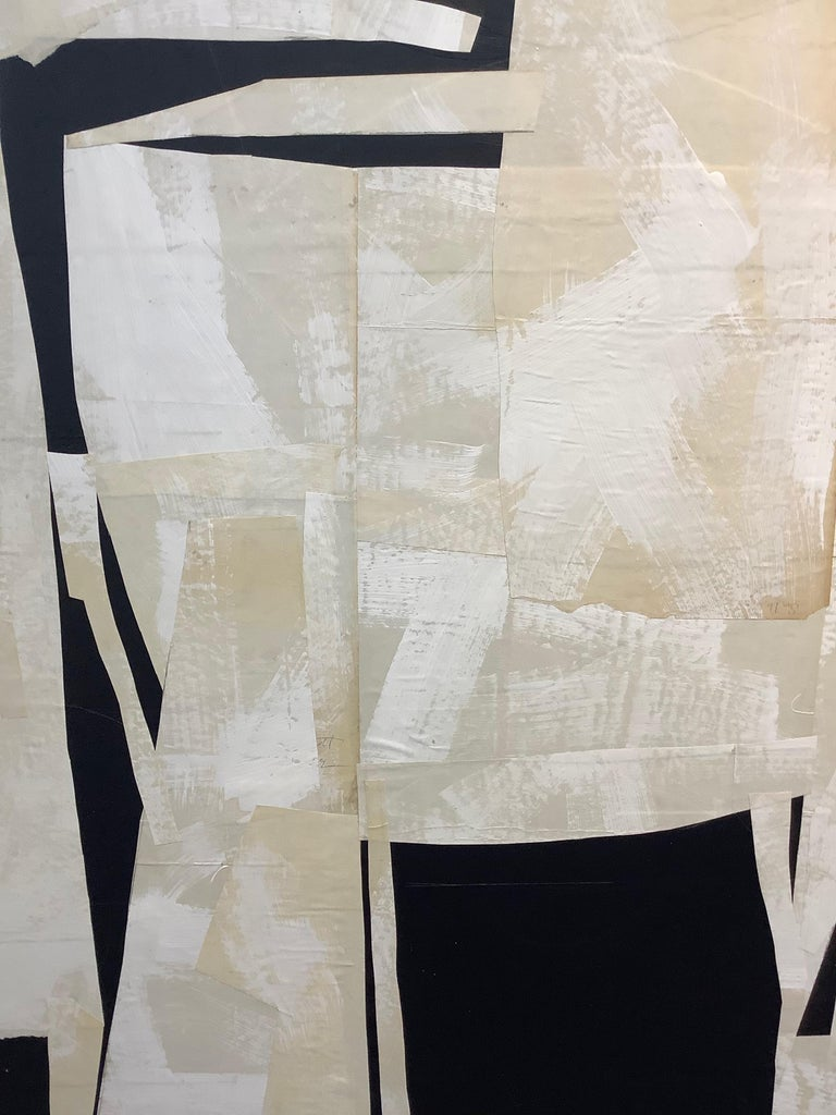 Armature IV, Large Square Abstract Painted Paper Collage on Panel, Black, Ivory For Sale 3