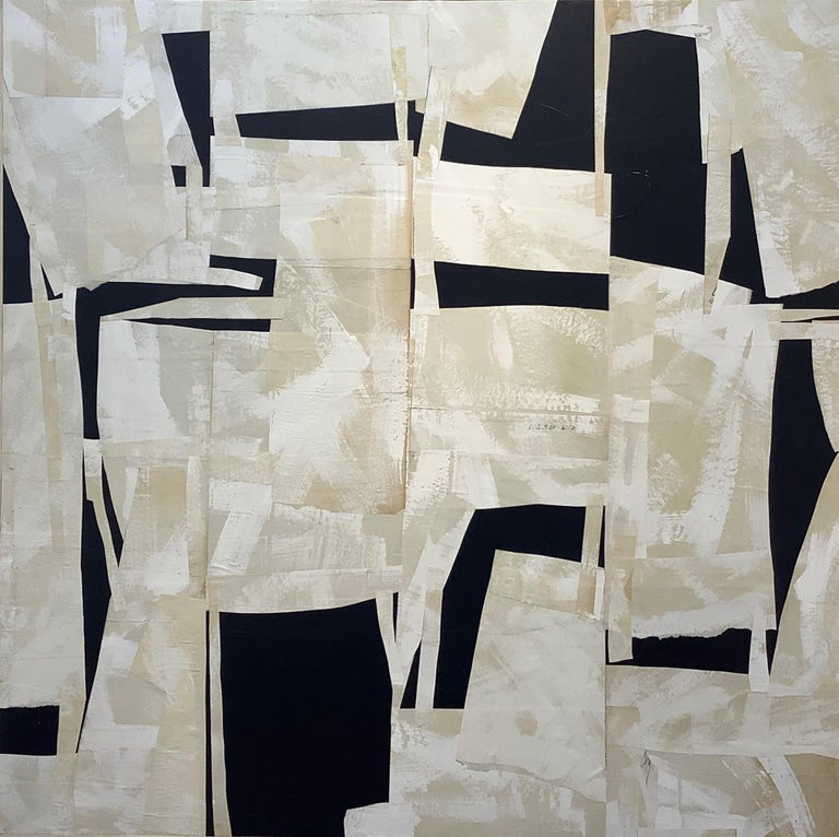 Armature IV, Large Square Abstract Painted Paper Collage on Panel, Black, Ivory - Mixed Media Art by Daniel Anselmi