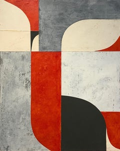 Untitled 6-26, Abstract Painted Paper Collage on Panel, Red, Black, Cream, Gray