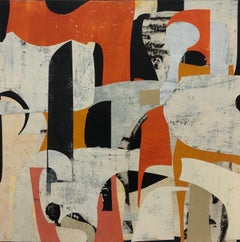 Untitled 9-24, Abstract Painted Paper Collage on Panel in Red, Gray, and Black