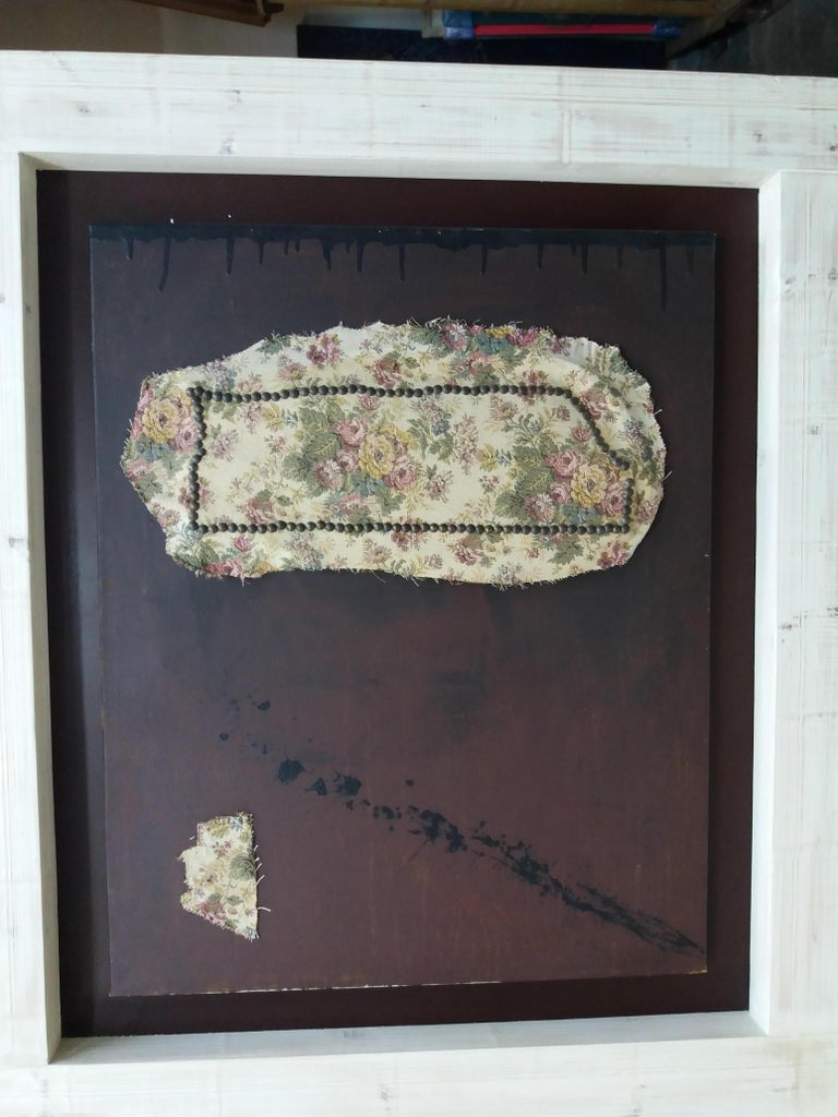 Brown- Original abstract informalistmixed media painting For Sale 3