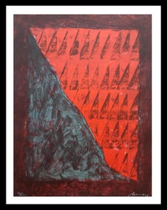 Red and brown- original litograph painting