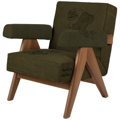 "Daniel Arsham, ""India Lounge Chair VI"", Wood, Upholstered Fabric, 2019"