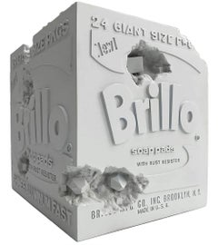 Eroded Brillo Box - Blue, Edition of 500 - based on Andy Warhol pop art Brillo