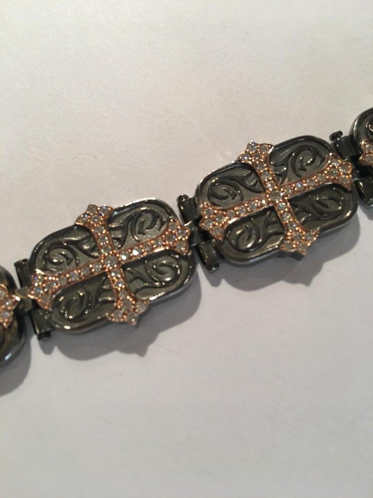 Contemporary Daniel Bass, NYC 14 Karat Rose Gold Sterling Silver 2.80 Carat Diamonds Bracelet For Sale