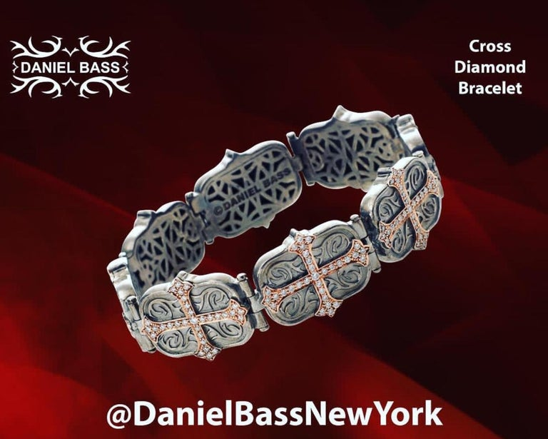 Daniel Bass, NYC 14 Karat Rose Gold Sterling Silver 2.80 Carat Diamonds Bracelet In Excellent Condition For Sale In Paris, FR