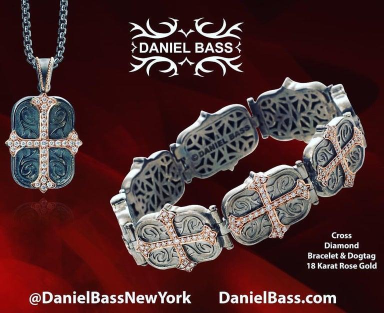 Women's or Men's Daniel Bass, NYC 14 Karat Rose Gold Sterling Silver 2.80 Carat Diamonds Bracelet For Sale