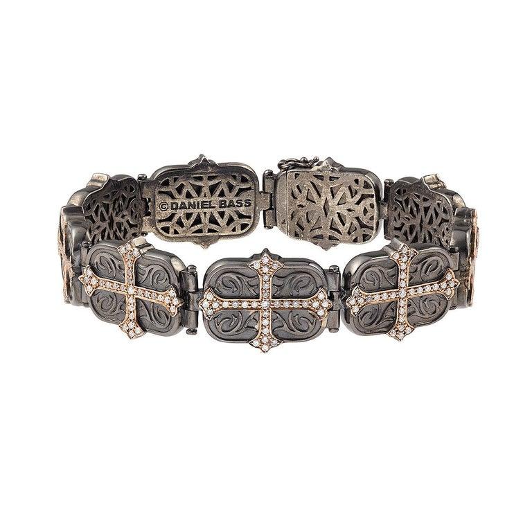 Daniel Bass, NYC 14 Karat Rose Gold Sterling Silver 2.80 Carat Diamonds Bracelet For Sale 1