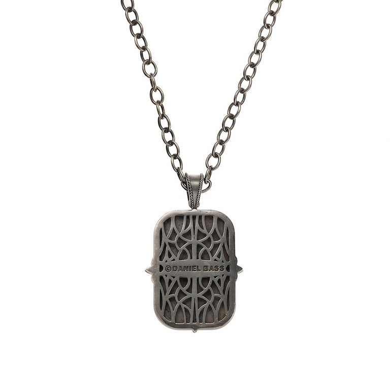 Daniel Bass, NYC 14K rose Gold Sterling Silver dog Tag 1.97 carats Diamonds !  Daniel Bass New York City 14K Pink and Blackened Sterling Silver Dog Tag on 22