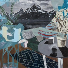 Overlook, abstracted blue interior, still life with mountains