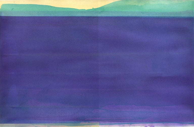 Daniel Brice Water - Blue, 2020 watercolor on paper 16 x 25 in image size 21 x 29 in paper size  This original abstract watercolor painting on paper by Daniel Brice features bold shades of purple, turquoise, and yellow.