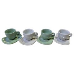 Daniel Buren Illy Collection 2004 Bianco Verde Expresso Cups and Saucers