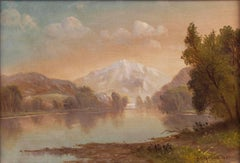 Mountain Lake, a landscape by Daniel Charles Grose (1838-1900, American)
