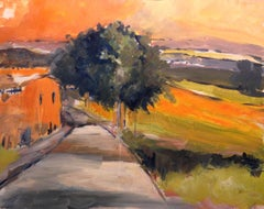 Tuscany Road Early Evening, Painting, Acrylic on Other