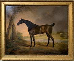 Portrait of an English Horse , a dark bay hunter an 18th C English landscape