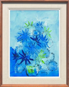 Blue & Green Mid-Century Floral