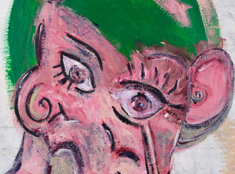 Abstract Pink Cubist Face - Gray Abstract Painting by Daniel David Fuentes