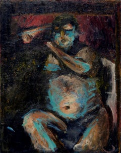 Blue & Black Abstract Expressionist Figure by Fuentes