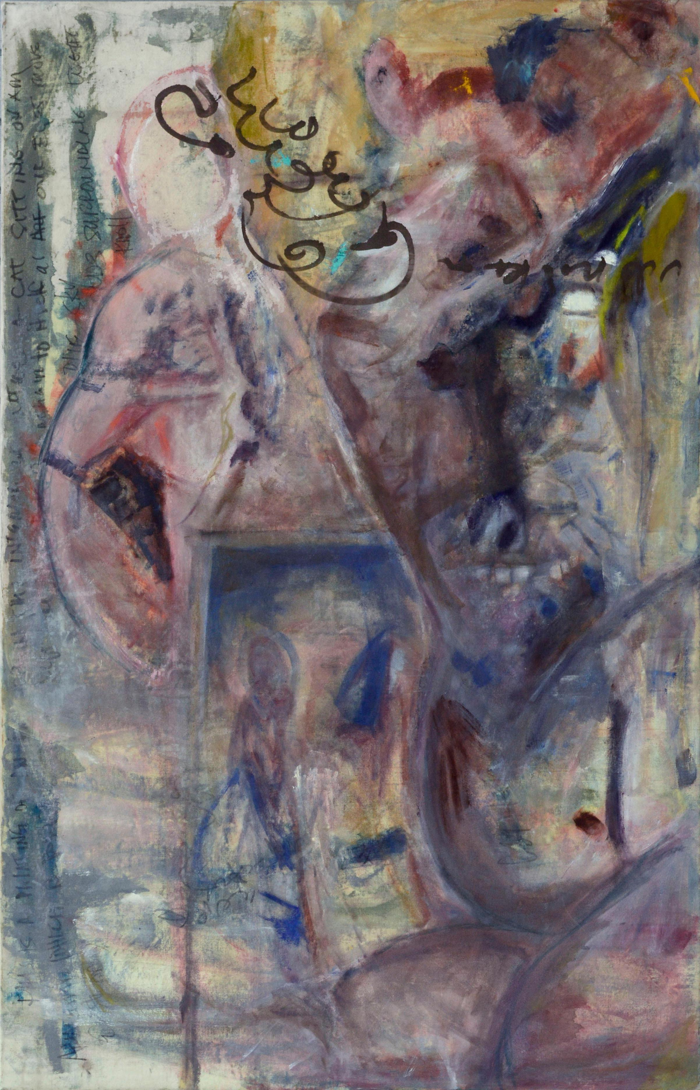 Cat Sitting on an Arm Chair A Double Sided Figurative Abstract