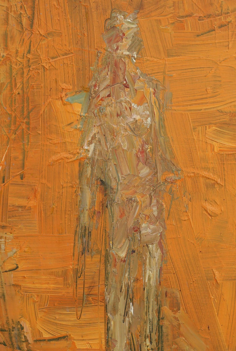 Orange Man Abstract Expressionist Figurative - Painting by Daniel David Fuentes