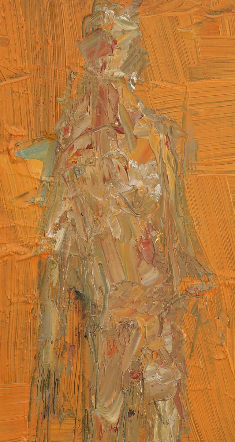 Evocative walking figure highlighted with dynamic brushstrokes in orange and earth tones by San Francisco area artist Daniel David Fuentes (American, b-20th C. - d-2017). From a collection of his works. From a collection if his work,