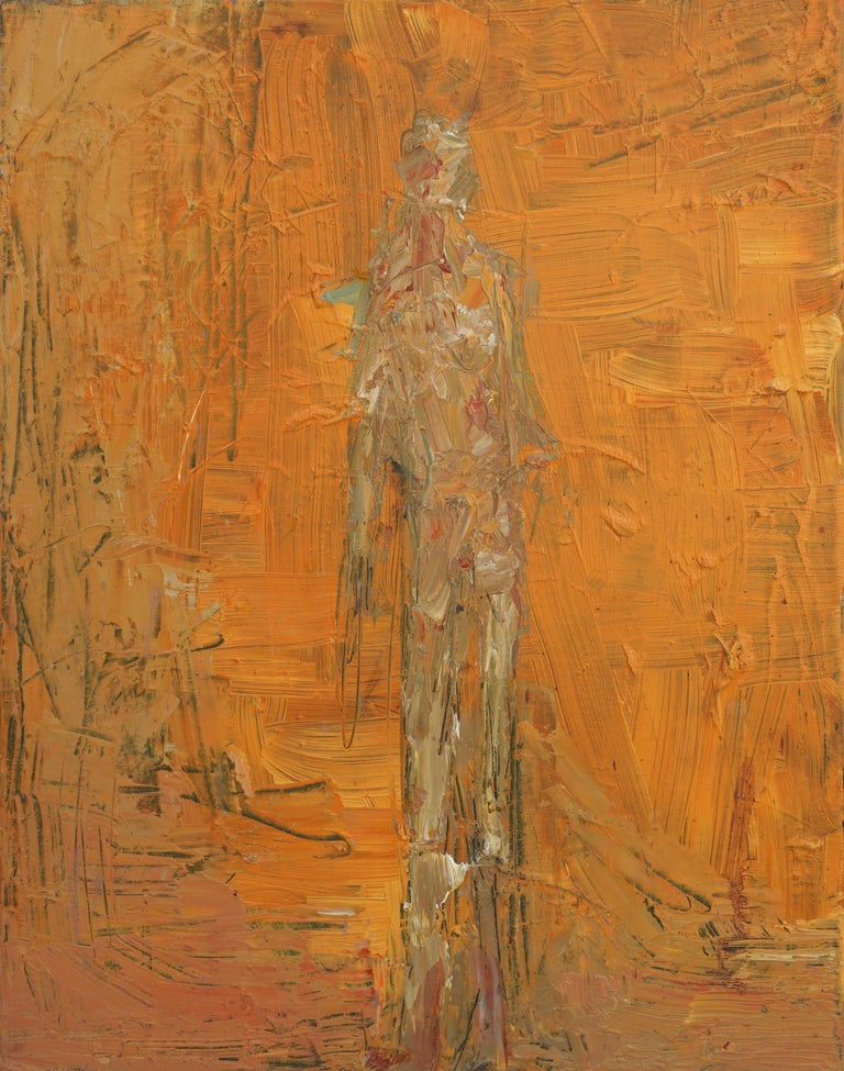 Daniel David Fuentes Abstract Painting - Orange Man Abstract Expressionist Figurative