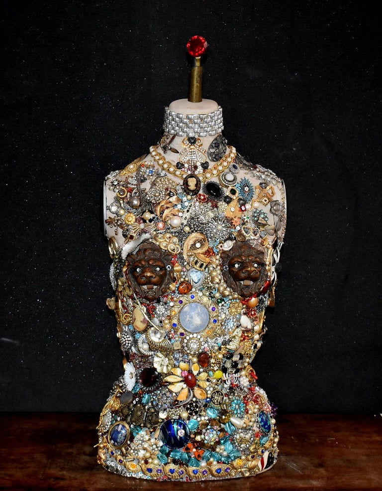 A very unique mannequin cover with vintage costume jewelry design by French artist Daniel Dupir Title