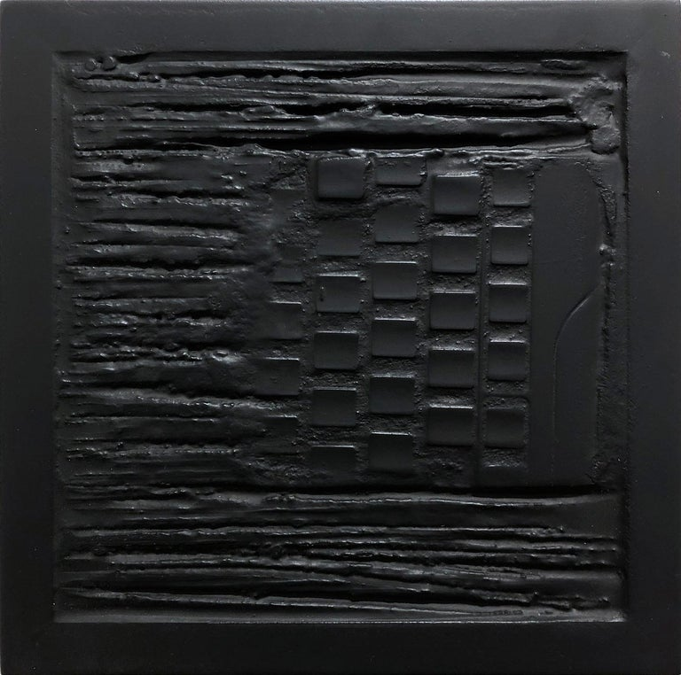 """Pen Decline 1 - 2 - 3 in Black"" (Archeology series) Computer Keyboard Sculpture - Brown Abstract Painting by Daniel Fiorda"