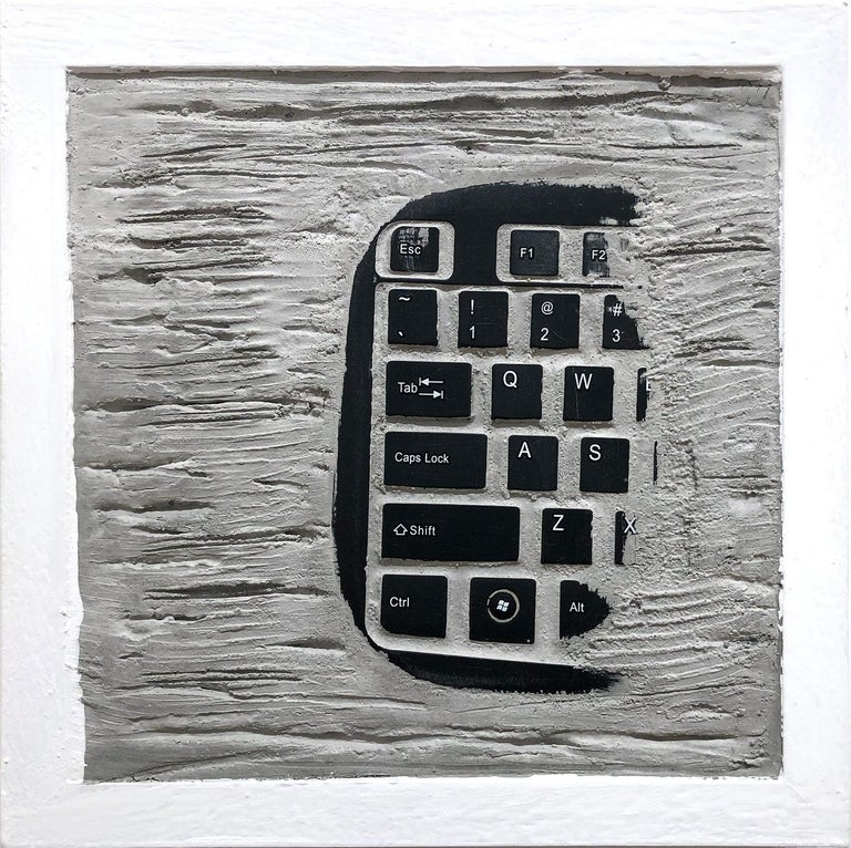 """Pen Decline 1 - 2 - 3 in Grey"" (Archeology series) Computer Keyboard Sculpture - Brown Abstract Sculpture by Daniel Fiorda"