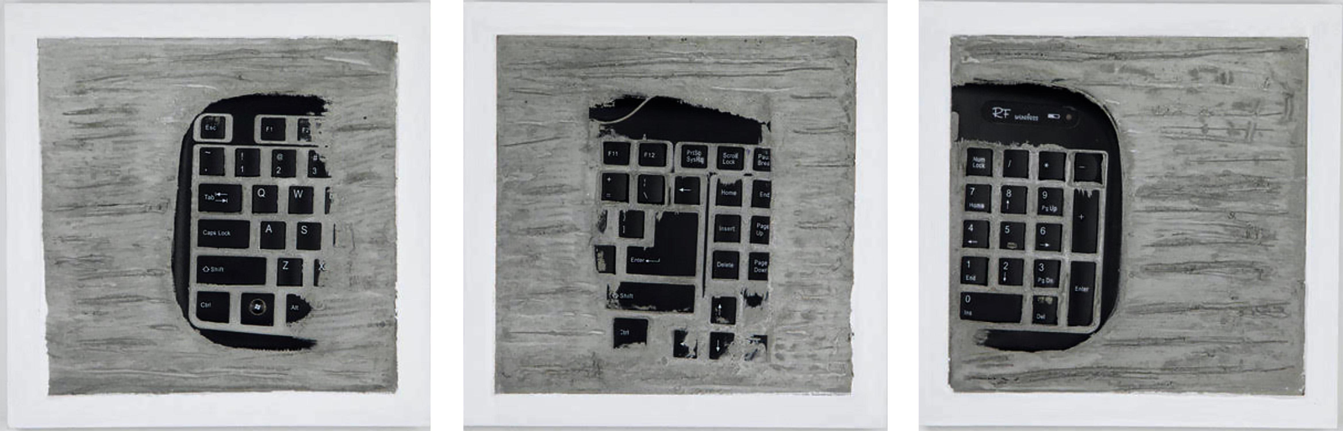 """Pen Decline 1 - 2 - 3 in Grey"" (Archeology series) Computer Keyboard Sculpture"