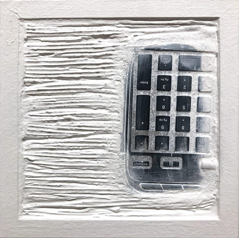 """Pen Decline 1 - 2 - 3 in White"" (Archeology series) Computer Keyboard Sculpture - Painting by Daniel Fiorda"