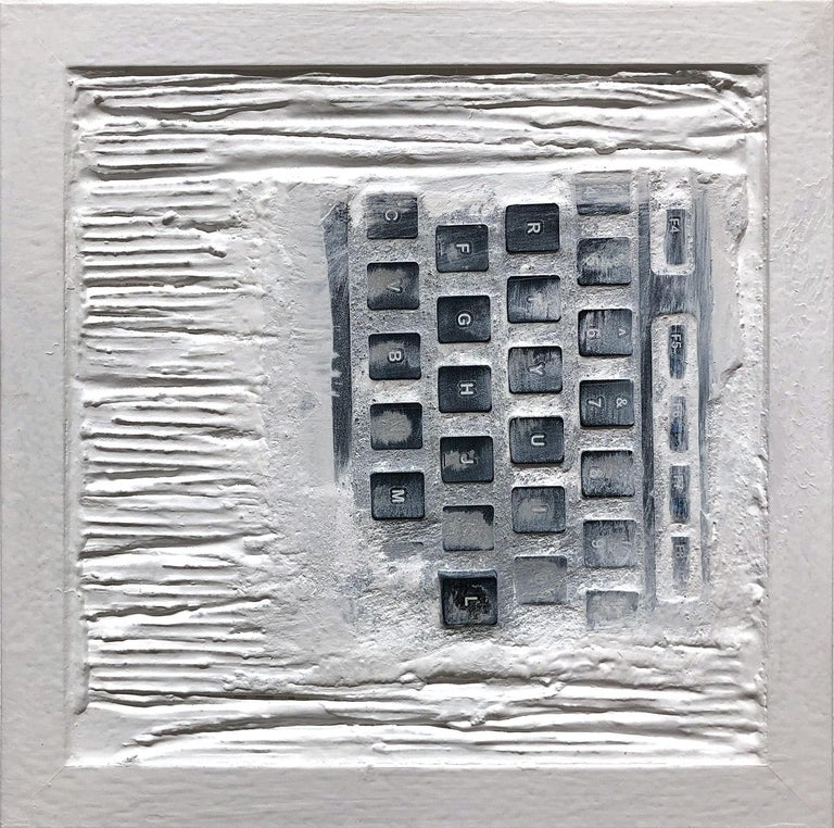 """Pen Decline 1 - 2 - 3 in White"" (Archeology series) Computer Keyboard Sculpture - Contemporary Painting by Daniel Fiorda"