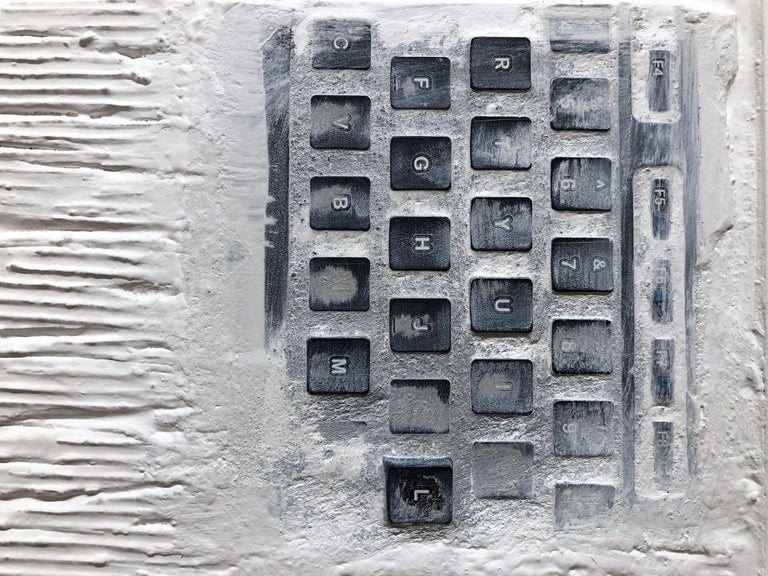 """Pen Decline 1 - 2 - 3 in White"" (Archeology series) Computer Keyboard Sculpture For Sale 2"